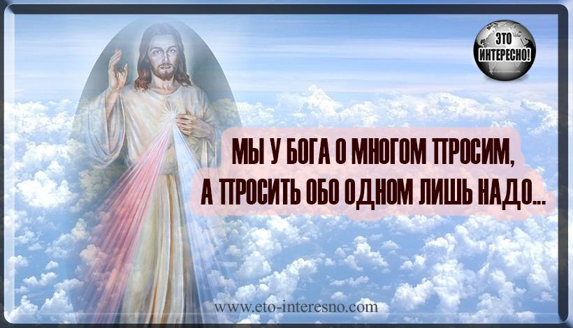 МЫ У БОГА О МНОГОМ ПРОСИМ, А ПРОСИТЬ ОБО ОДНОМ ЛИШЬ НАДО...